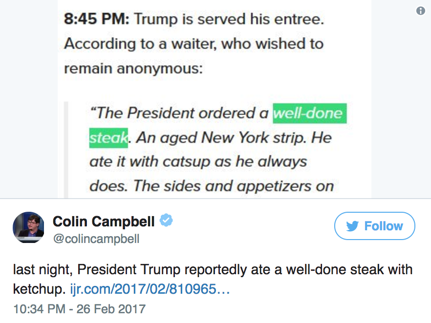 Donald Trump has a strange steak habit