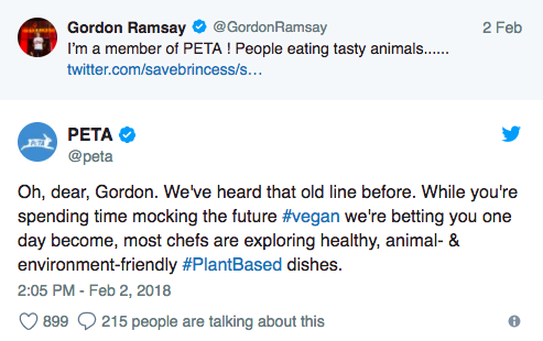 PETA respond to Gordon Ramsay tweet
